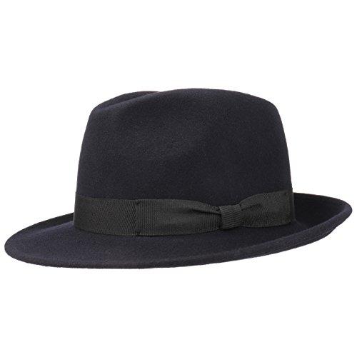 Lipodo Basic Bogart Filzhut | Bogarthut aus 100% Wollfilz | Wollfilzhut Damen/Herren | Fedora Made in Italy | Hut Sommer/Winter | Wollhut dunkelblau S (54-55 cm)
