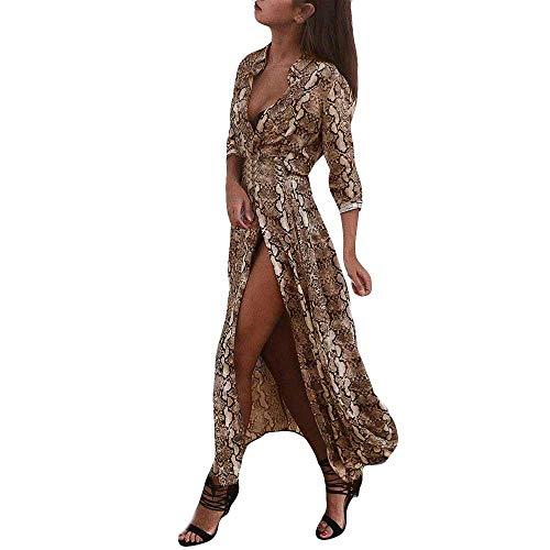 Sannysis Damen Maxikleid Langes Elegantes Kleid Langarm Stehkragen Leopardenmuster Abendkleider Herbst Winter Strandkleid Partykleid