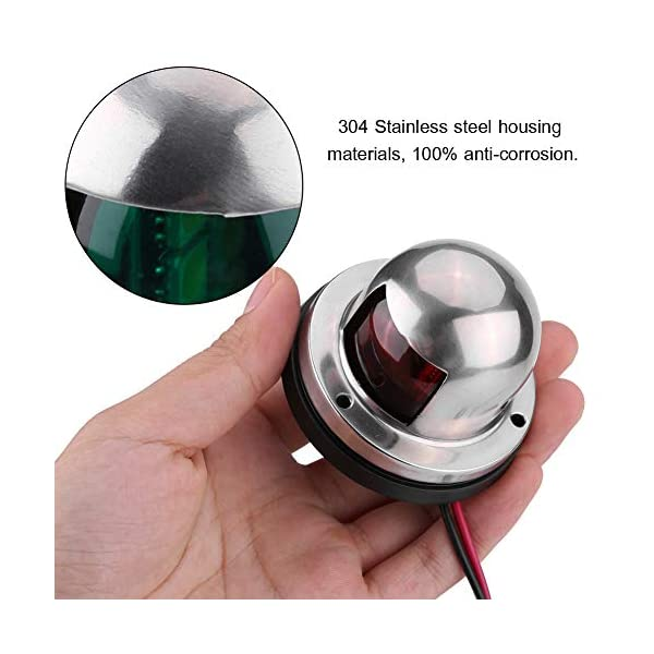 12V/24V LED Navigation Signal Light Marine Boat Stainless Steel Red and Green LED Navigation Signal Lamp Yacht Accessory…