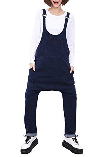 ELLAZHU Damen Verstellbar Hosenträger Denim Latzhose Eniheitsgröße GY808 Blau