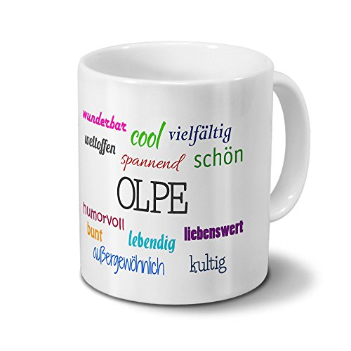 "Städtetasse Olpe - Motiv ""Positive Eigenschaften"" - Stadt-Tasse, Kaffeebecher, Mug, Becher, Kaffeetasse - Farbe Weiß"