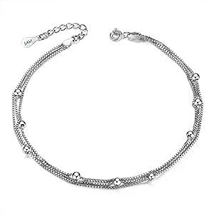 3Schicht Kette Fußkettchen für Frauen Mädchen 925Sterling Silber Bead Fußkettchen Sommer Fuß Schmuck Länge verstellbar