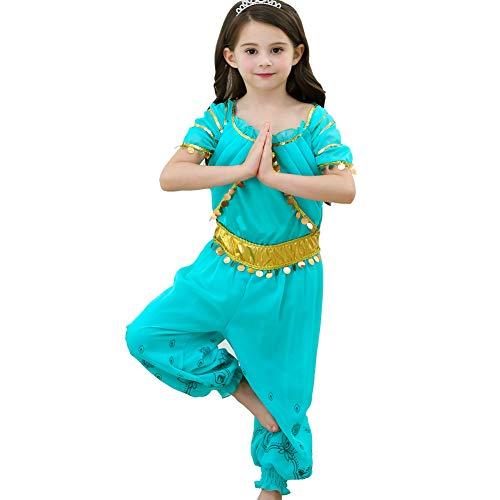 yeesn Mädchen Prinzessin Jasmin Kostüm Arabische Pailletten Prinzessin Kleid Kleid Geburtstag Halloween Cosplay Kostüm Outfit für Kinder Gr. 4-5 Jahre, Jumpsuit