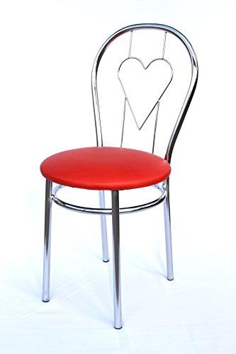 DanDiBo Stuhl aus Metall Bistrostuhl Art.261C Herz 88 cm verchromt Stühle