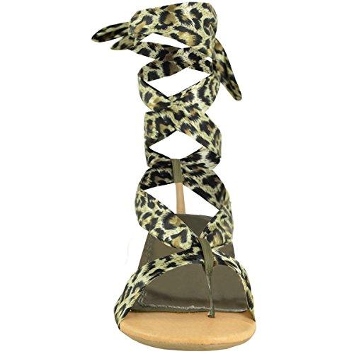 SANDALI DA DONNA PIATTI ALLACCIATI ESTIVI CON PIZZO STAMPA ANIMALI NUOVI Verde Stampa Leopardo