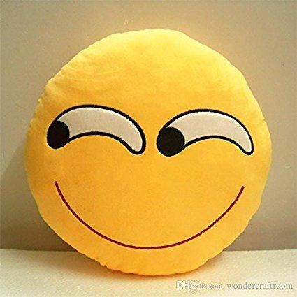 Soft Cushion Pillows Emoticon Round Yellow Emotion Expression Cushion (Naughty, Yellow)