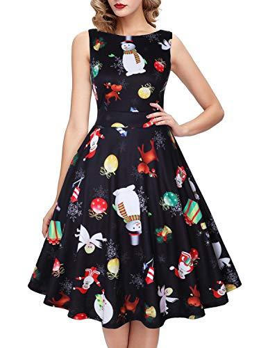 ihot Elegant Damen 50s Retro Vintage Rockabilly Kleid Partykleider Cocktailkleider (S, Weihnachten Hirsch)