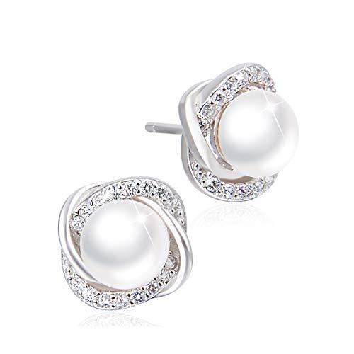 PEARLOVE Einfache Blaue Perlen Ohrstecker für Frauen