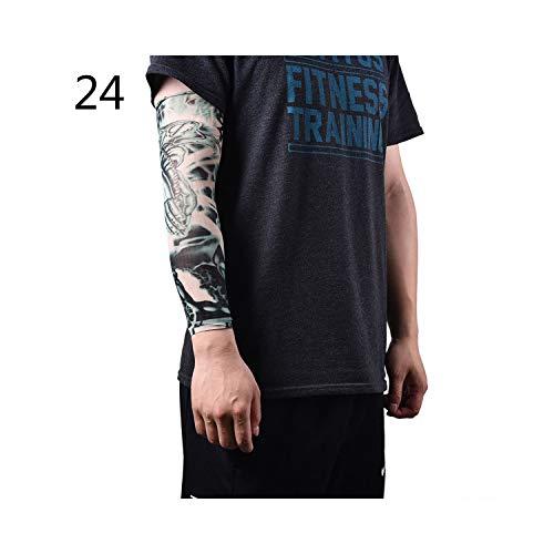 rmel,Motorradhülle Sonnenschutz, Cool Arm Warmer Skins Proteive Nylon Stretchy Fake Temporäre Tattoo-Ärmel Designs Body Arm Stockings Tatoos Men Women Tattoo 24 ()