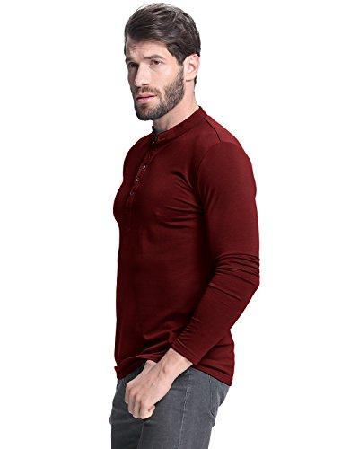 MODCHOK Men's Long Sleeve T-Shirts Henley Collar Tee Shirt Cotton Button Neck Tops Wine Red