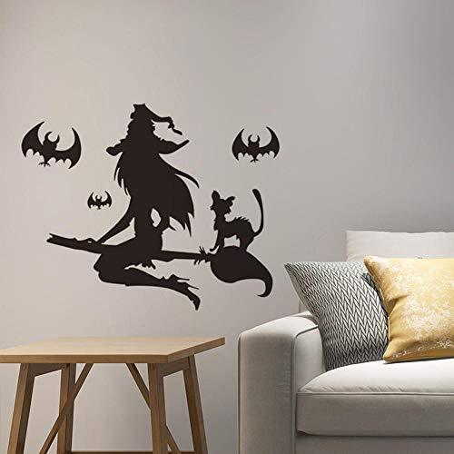 Wandtattoo Wand Deko Für Wohnzimmer Halloween-Serie Fledermaus Hexe Wandaufkleber Glasfensterdekoration Aufkleber, 57 * 31Cm ()