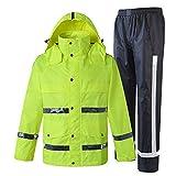 Chalecos de alta visibilidad Chaqueta y pantalón impermeables para la lluvia, traje de poncho con capucha y impermeable reflectante para actividades al aire libre Chaleco reflectante de alta visibilid