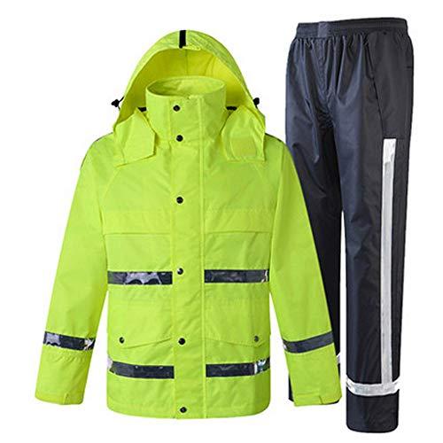 BGROESTIE Sicherheitsweste wasserdichte Regenjacke und Hose, reflektierender Sicherheits-Regenmantel-mit Kapuze Poncho-Anzug für Arbeit Tätigkeit im Freien Reflektierende Schutzanzüge (Größe : Large) -