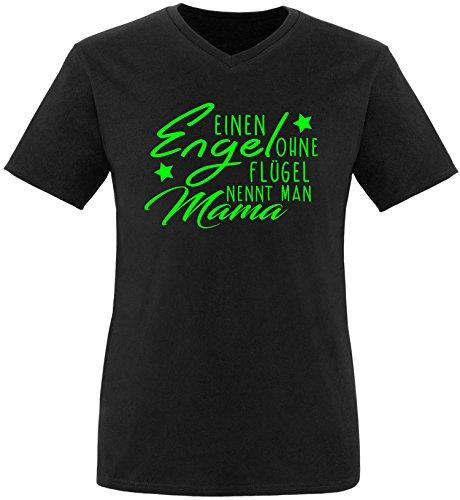 EZYshirt® Ein Engel ohne Flügel nennt man Mama Herren V-Neck T-Shirt Schwarz/Neongrün