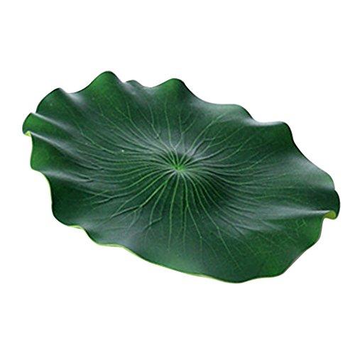 perfk 2 Stück Schwimmend Lotusblatt Aquarium Garten Teich Künstliche Pflanzen Dekoration, 17cm/29cm/40cm - 40 cm