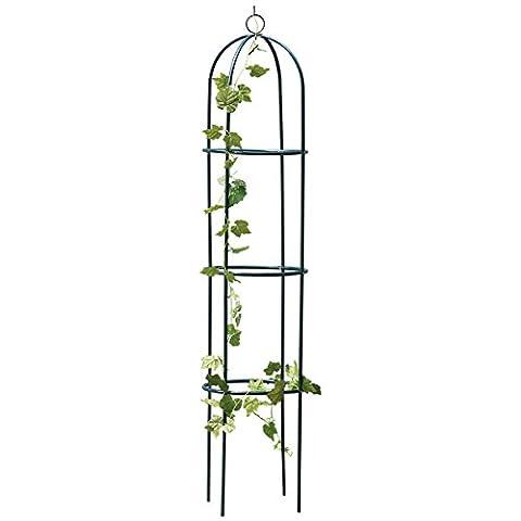 Obélisque de jardin en métal pour plante grimpante 1.9m Fleurs Cadre en acier Wgo Treillis de vigne Décor floral Vert armée Yard ronde en métal résistant aux intempéries NEUF