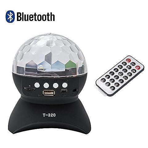DiscoLichteffekte Musikgesteuert, Tragbarer Bluetooth Lautsprechermini Lautsprecher Music.FM/USB/SD mit Fernbedienung für Party