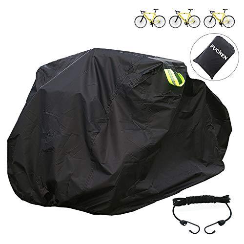 Fucnen Große Fahrradabdeckung für Fahrrad-Aufbewahrung, schwarz, für 2 3 Fahrräder, verbesserte strapazierfähige 210D Oxford-Gewebe, Anti-Staub, Regen, UV-Schutz für Mountain Road Cruiser 3 Rad Bike L