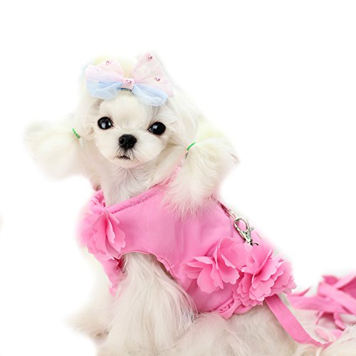 Imagen de cute flores pequeñas mascotas perro gato princesa arnés chaleco y correa chihuahua perro arnés lleva ropa de abrigo para perro chaqueta disfraz para perro