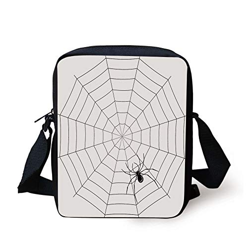 LULABE Spider Web,Toxic Poisonous Insect Thread Crawly Malicious Bug Halloween Character Design Decorative,Black White Print Kids Crossbody Messenger Bag Purse