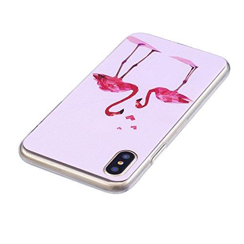 Cover iPhone X Case iPhone 10 Custodia Spiritsun Moda Ultraslim Silicone Soft TPU Case Cover Case Elegante Souple Flessibile Liscio Copertura Perfetta Protezione Shell Morbido Handy Candy Custodia Per Coppia gru