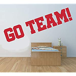 'Go Team!' Zitat, Vinyl Wandkunst Aufkleber, Wandbild, Aufkleber. Sport, Cheerleader