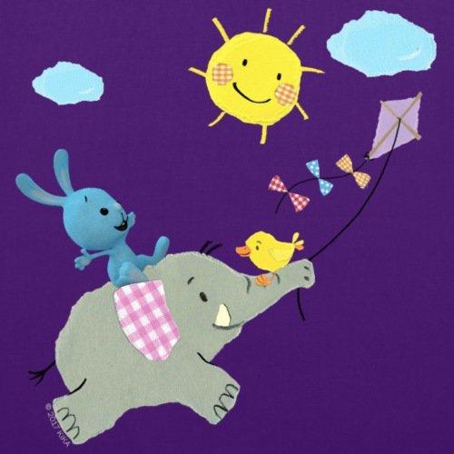 Spreadshirt KiKANiNCHEN Kaninchen Reitet Auf Elefant Stoffbeutel Lila