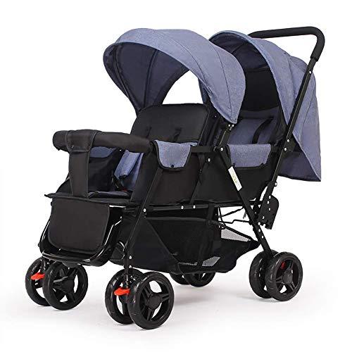DQZLFYH Doppelkinderwagen Leichter faltender doppelter Sitz kann den vorderen und hinteren Sitz lehnend sitzen,C