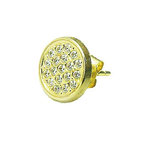Herren-Ohrstecker Gelbgold 9ct Gold 19Stein Zirkonia Micro Pavé Single Ohrring–Geschenk Box–für Ihren Mann (Pave Diamant-ohrringe)