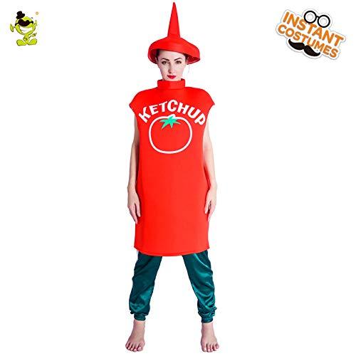 Halloween Kostüm Ketchup - AA Halloween Damen Creme Ketchup Flasche Kostüm Damen Kostüm Cartoon Outfit Halloween Cosplay Kostüme Kleid SD (Color : Onecolor, Size : Onesize)