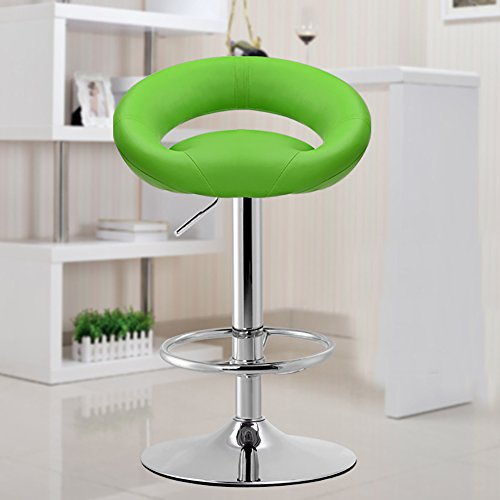 Stuhl / Hocker Ali@ Kunstleder Chrom Base Swivel Bar Stoolsl, High-Density-Schwamm für Kissen, hochwertige PU-Leder, 12 Farben (Farbe : Green, größe : 41cm) -