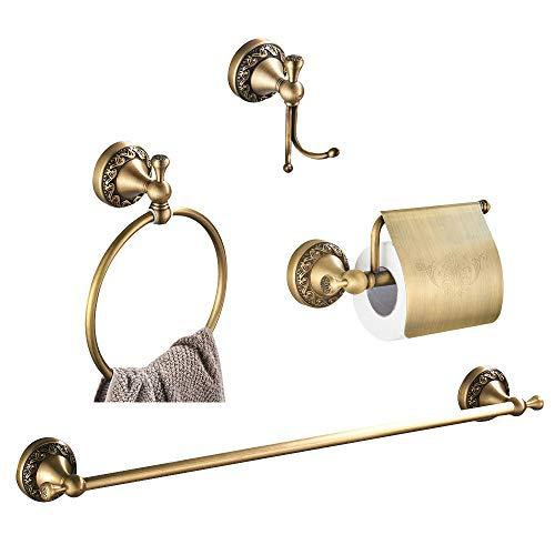 Womao set di accessori per bagno finitura ottone anticato portasciugamani asciugamano anello per asciugamano impermeabile porta carta igienica con coperchio, stile retrò fissato al muro intagli