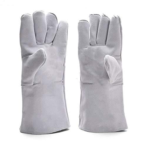 GONGFF Schweißen Schweißer Lederhandschuhe verdicken gewidmet hohe Temperatur, Hitze Beweis rutschfeste Verbrühungsschutz wasserdicht gemütlich -