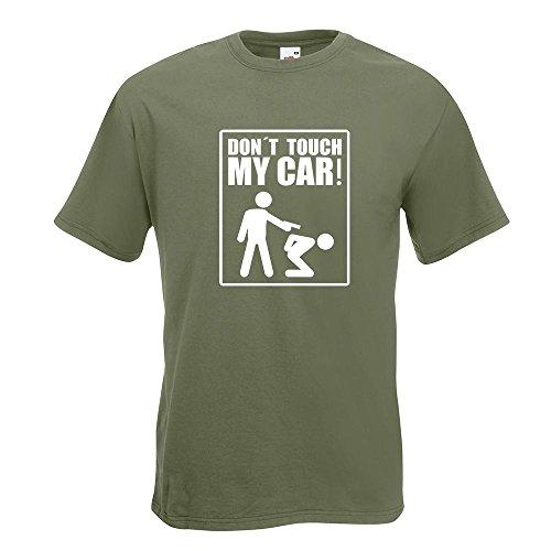 KIWISTAR - Dont touch my Car Motiv3 T-Shirt in 15 verschiedenen Farben - Herren Funshirt bedruckt Design Sprüche Spruch Motive Oberteil Baumwolle Print Größe S M L XL XXL Olive