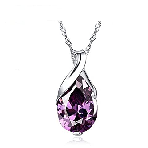 S925 Silver Necklace Platinum Plated Teardrop Pendant Jewelry Amethyst Pendant Necklace, 18
