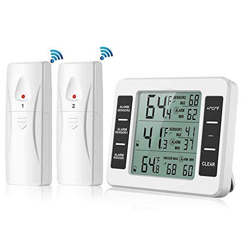 leegoal Kühlschrank Thermometer, Wireless Digital Thermometer mit 2PCS Sensoren Temperaturüberwachung und akustischer Alarm, Min/Max Aufzeichnung für Zuhause, Restaurants (Batterie Nicht enthalten) -