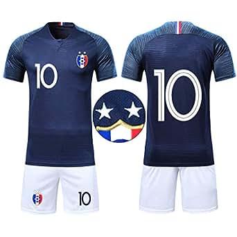 a68bcf4120a09 Ensembles de Sport Maillot de Football Enfant Garçon Coupe du Monde France  2 étoiles Manche Courte