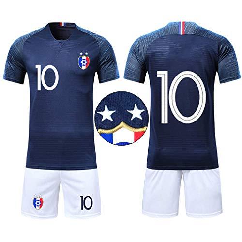 Ensembles de Sport Maillot de Football Enfant Garçon Coupe du Monde France 2 étoiles Manche Courte T-Shirt et Shorts (Tailles 24, Bleu 10)
