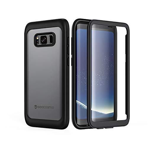seacosmo Galaxy S8 Hülle, Stoßfest Handyhülle Samsung Galaxy S8 360 Grad vollschutz Case Rugged S8 Cover mit eingebautem Bildschirmschutz, Schwarz