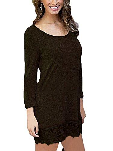 Summer Mae Damen A-line Lace Quaste Beiläufigkeit Herbst Kleid Retro-Look Dress Braun