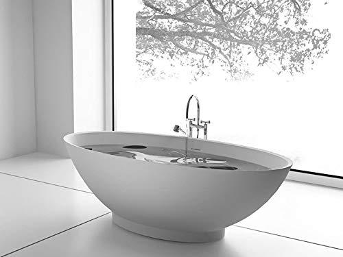 Freistehende Badewanne Mineralguss - oval weiß - inkl. Ablaufventil & Siphon - 180x85 - Modell Barletta glänzend