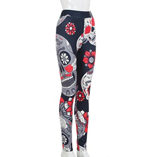 Pantalon de Sport ❤ Femmes leggings Fitness Yoga Pantalons athlétiques ❤ Pantalon Épissage High taille gym yoga Running fitness leggings pantalons dentraînement vêtements red