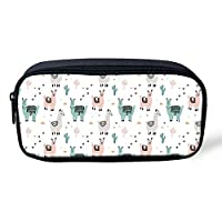 POLERO Alpaca Printed Personalized Pencil Case, Cosmetic Case and Travel Pouch for Office and Back to School