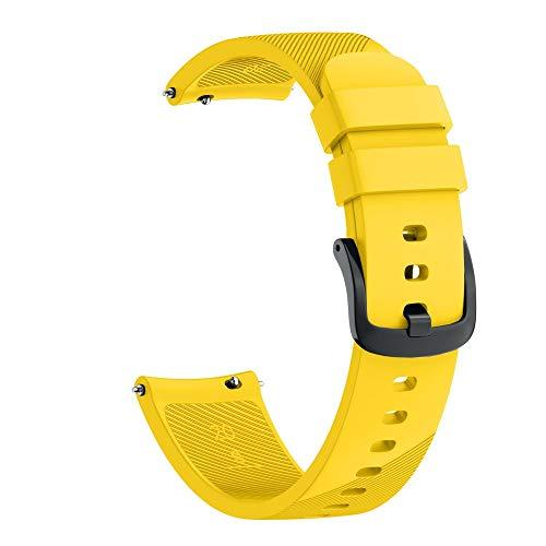 Kompatibel Samsung Galaxy Watch 42mm Armband, LederArmband klassischer Ersatzlederarmband Uhrenarmbänder Ersatzband Metallschnalle Fitnessband Schnellspanner Sportarmband (Gelb)