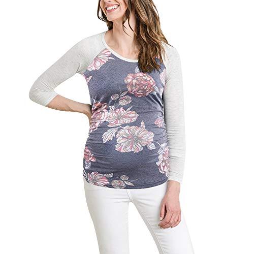 rschafts-T-Shirt mit Blumendruck, Rundhalsausschnitt, langärmelig, Übergröße, Baumwollmischung, Blue+Gray, M ()