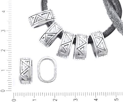 8pcs Antique Silver Oval Geometrie Muster Folie Charme Großes Loch Armband Schmuck Machen Erkenntnisse 13mm x 10mm
