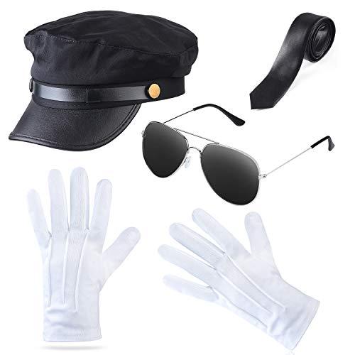 Beefunny 1980er Gangster Biker Cosplay Kostüm Erwachsene Zubehör Herren Junggesellinnenabschied Party Zubehör (Schwarz4) (1920 1980 Kostüm)