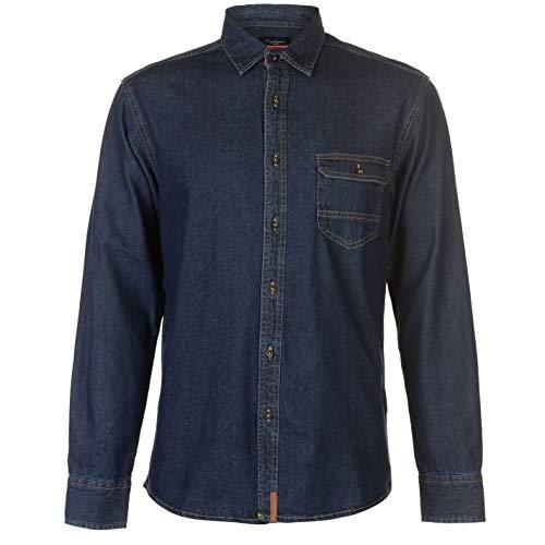 Pierre Cardin One Pocket Denim Jeansstoff Shirt Hemd Herren (Dunkel Indigo Waschen, Medium)