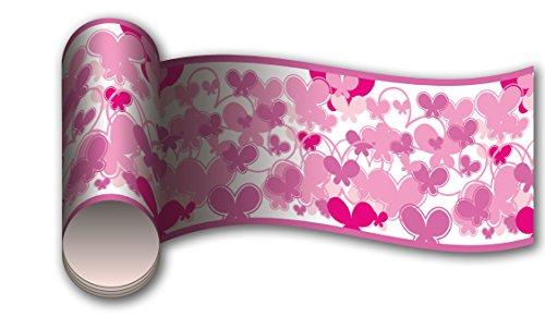 Bordüre Schmetterlinge Pink als Kleisterbordüre und Vliesbordüre 260x15cm   Vlies