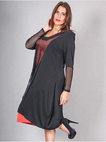 Vêtement Femme Grande Taille Tunique Filet Noire Multicolore